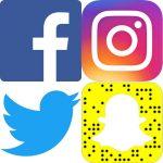Les logos de quatre médias sociaux - Facebook Instagram Twitter et Snapchat