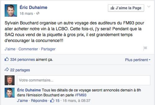 Duhaime LCBO Facebook