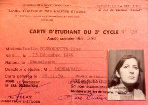 Carte étudiante de Lise Bissonnette à La Sorbonne (1969-70)