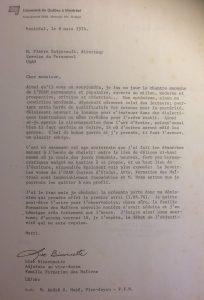 Lettre de démission de l'UQAM rédigée par Lise Bissonnette en mars 1974